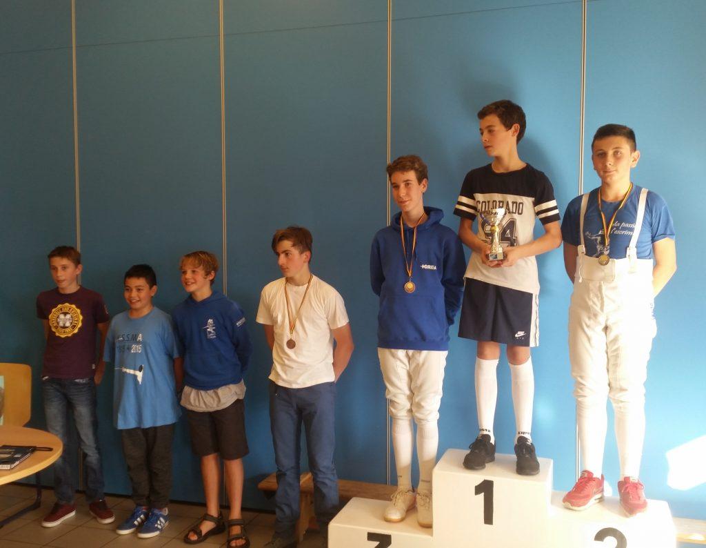 Podium Minime Epée Garcon Arlon 2016